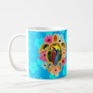 Puesta del sol hawaiana de la tabla hawaiana tazas de café