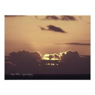 Puesta del sol hawaiana de oro arte con fotos