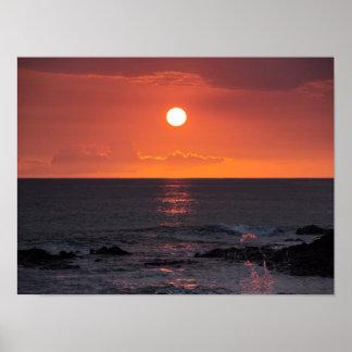 Puesta del sol hawaiana del océano - puestas del s impresiones