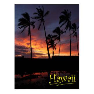 Puesta del sol hawaiana en el lugar del refugio postales