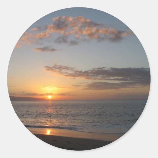 Puesta del sol hawaiana etiquetas redondas