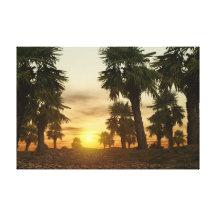 Puesta del sol hawaiana impresión en lona estirada