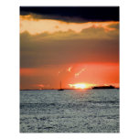 Puesta del sol hawaiana impresiones