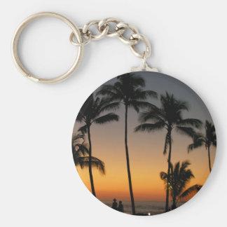 Puesta del sol hawaiana llavero redondo tipo pin