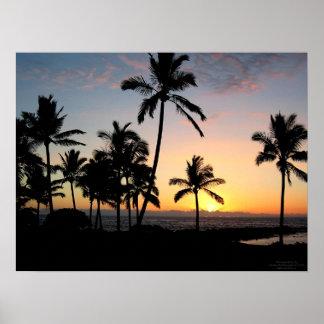 Puesta del sol hawaiana poster