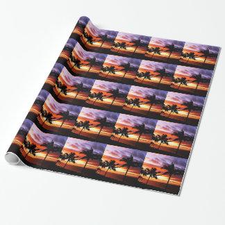 Puesta del sol hawaiana papel de regalo
