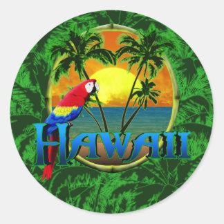Puesta del sol hawaiana pegatinas redondas