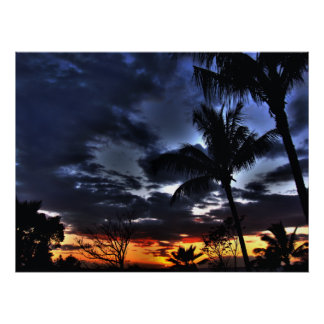 Puesta del sol hawaiana póster
