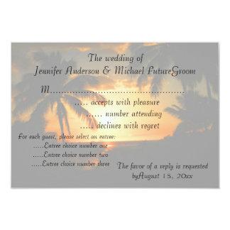 """Puesta del sol hawaiana RSVP que casa la Invitación 3.5"""" X 5"""""""