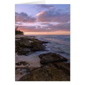 Puesta del sol hawaiana tarjeta