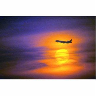 Puesta del sol hermosa: Avión de pasajeros que sal Fotoescultura Vertical