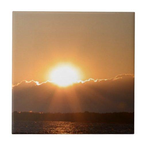 puesta del sol hermosa azulejo cuadrado pequeño