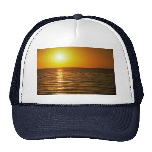 Puesta del sol hermosa: Cardiff-Por--Mar, Californ Gorras