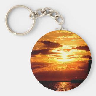¡Puesta del sol hermosa de Michigan! Llavero Redondo Tipo Pin