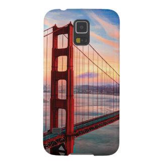 Puesta del sol hermosa del invierno en puente Gold Fundas Para Galaxy S5