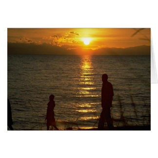 Puesta del sol hermosa: El lago Malawi, Malawi Tarjeta De Felicitación