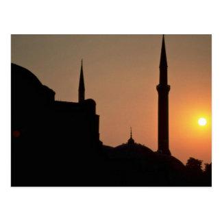 Puesta del sol hermosa: Estambul, Turquía Tarjetas Postales