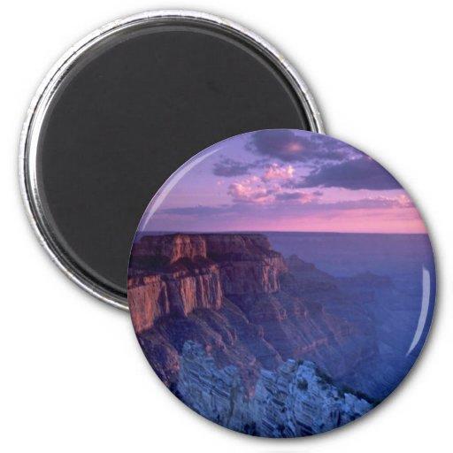 Puesta del sol hermosa: Gran Cañón, Arizona Imán Redondo 5 Cm