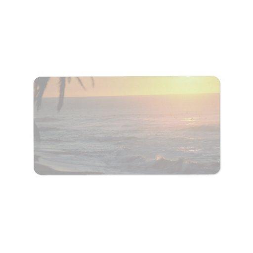 Puesta del sol hermosa: Orilla del norte, Oahu, Ha Etiqueta De Dirección