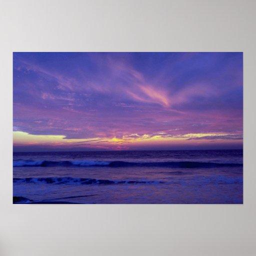 Puesta del sol hermosa: Playa de la misión, San Di Póster
