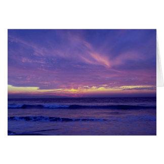 Puesta del sol hermosa: Playa de la misión, San Di Tarjeta De Felicitación