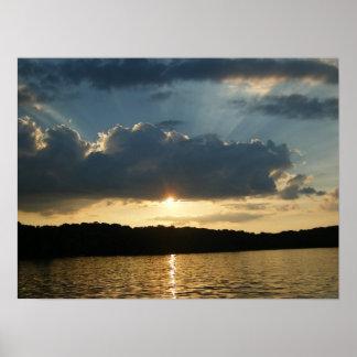 Puesta del sol hermosa poster