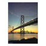 Puesta del sol hermosa: Puente de la bahía, San Invitación 12,7 X 17,8 Cm