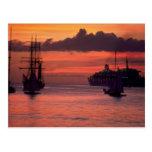 Puesta del sol hermosa: Puerto de Bridgetown, Barb Postal