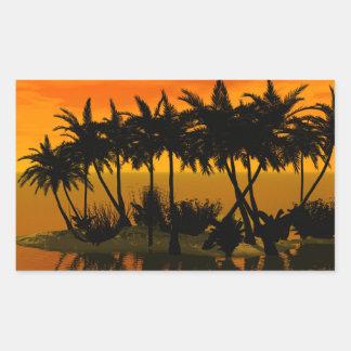 Puesta del sol hermosa sobre una isla de palma rectangular pegatinas
