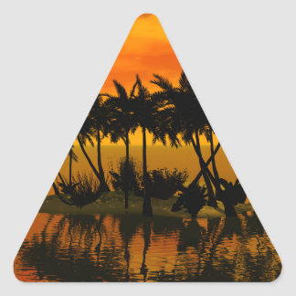 Puesta del sol hermosa sobre una isla de palma colcomanias trianguladas personalizadas