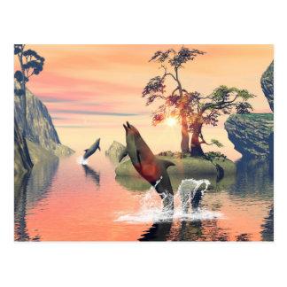 Puesta del sol hermosa postales