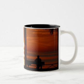 Puesta del sol hermosa taza dos tonos