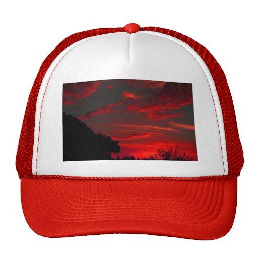 Puesta del sol Hued roja Gorros