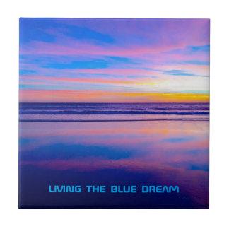 Puesta del sol ideal azul Santa Mónica Azulejo Cuadrado Pequeño