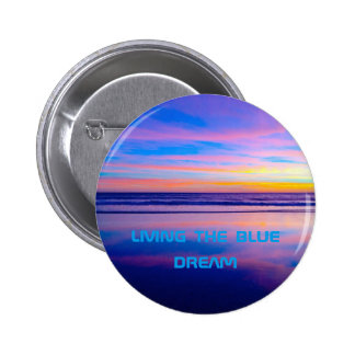 Puesta del sol ideal azul Santa Mónica Pin Redondo 5 Cm