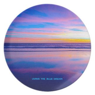 Puesta del sol ideal azul Santa Mónica Plato