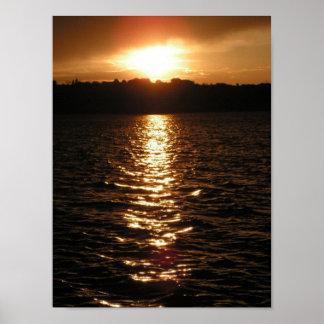 Puesta del sol II del lago Sumner del fuerte Póster