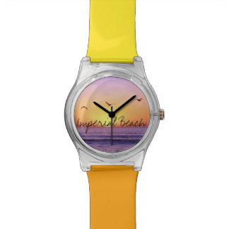 Puesta del sol imperial de la playa de California  Relojes De Pulsera