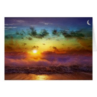 Puesta del sol imponente del arco iris tarjeta de felicitación
