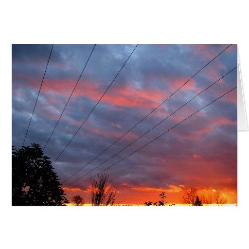 Puesta del sol imponente tarjeta de felicitación