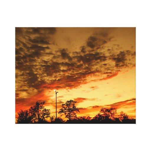 puesta del sol impresión en lienzo