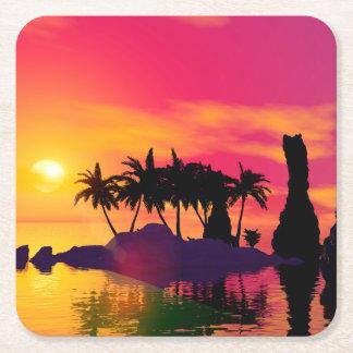 Puesta del sol impresionante en rosa y oro posavasos desechable cuadrado