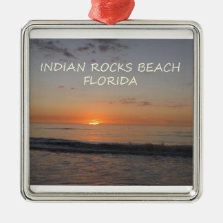 Puesta del sol india de la Florida de la playa de Adorno Navideño Cuadrado De Metal