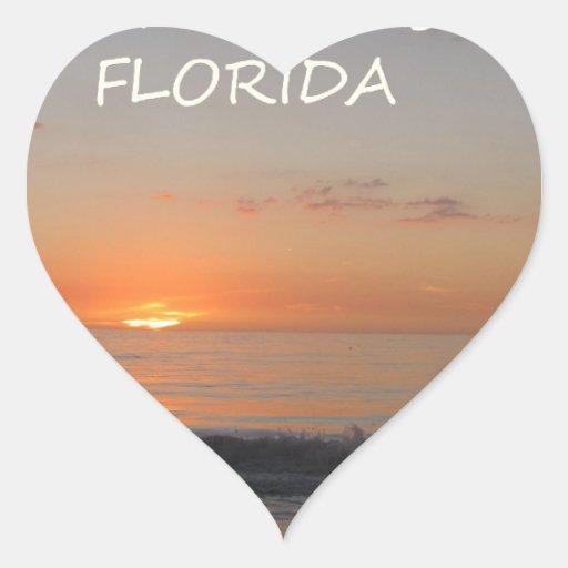 Puesta del sol india de la Florida de la playa de Pegatina En Forma De Corazón