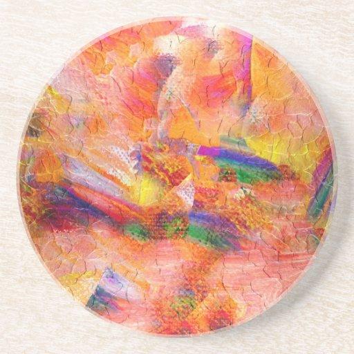 Puesta del sol infinita de la pintura abstracta posavasos manualidades