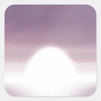 Puesta del sol irreal del cielo pegatina cuadrada