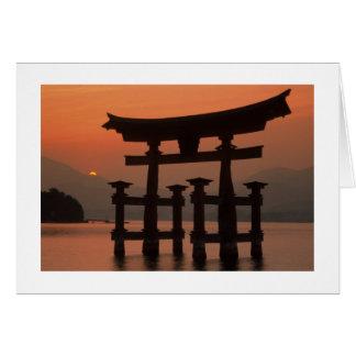 Puesta del sol Japón de Miyajima Felicitación