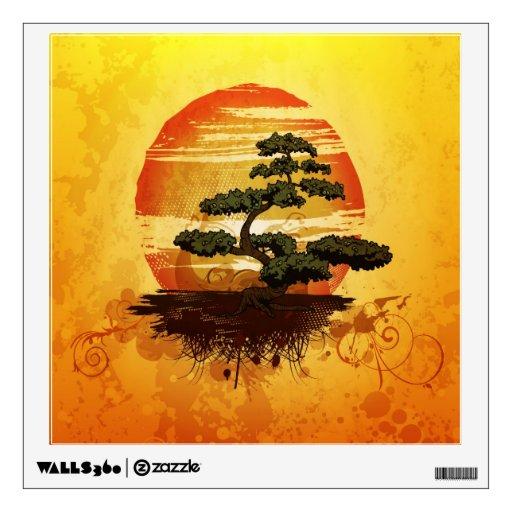 Puesta del sol japonesa del árbol de los bonsais