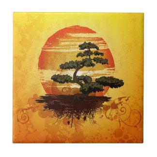 Puesta del sol japonesa del árbol de los bonsais azulejo cuadrado pequeño