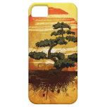 Puesta del sol japonesa del árbol de los bonsais iPhone 5 carcasa